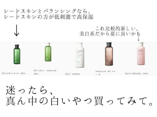 イニスフリー innisfree 化粧水 成分 比較